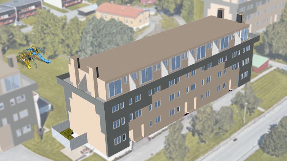 Slik ser et av husene i Karolinerveien ut i 3D-modellen, som blant annet viser mulige gevinster ved opprusting av ventilasjon og fasade.