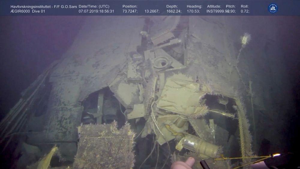Havforskningsinstituttet har brukt en ROV for å finne ut om det er radioaktiv lekkasje fra vraket til den sunkne russiske atomubåten Komsomolets i Barentshavet.