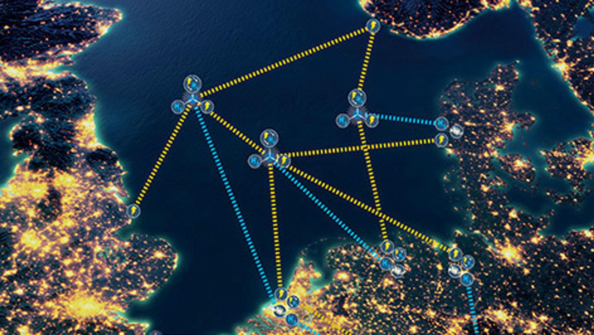 Ideen med en energiøy i Nordsjøen er å samle strømmen fra havmølleparkene i flere land, og sende den på kryss og tvers til forbrukerne i landene rundt Nordsjøen.