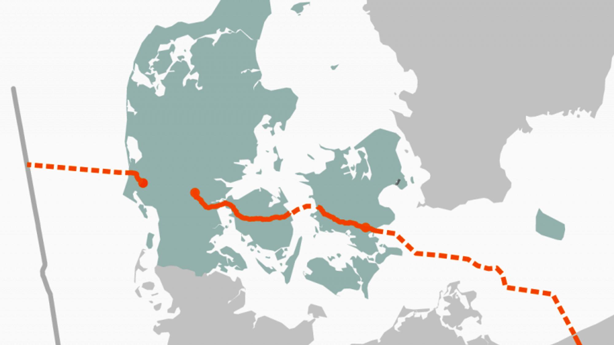 Gassledningen skal gå fra Nordsjøen til Polen gjennom Danmark.