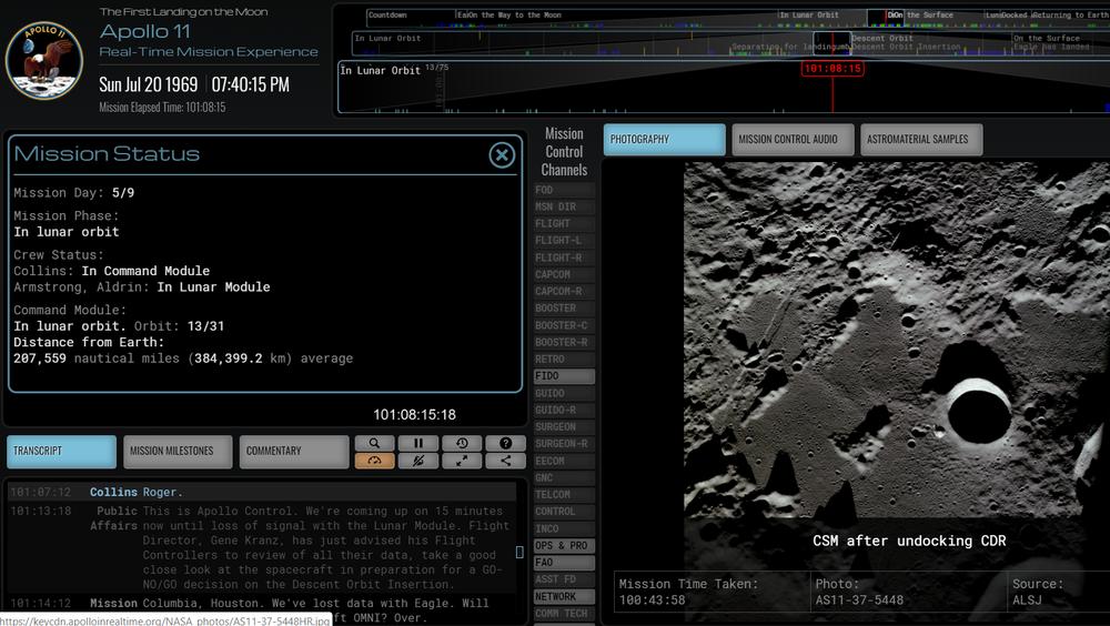 Nettsiden Apollo in real time lar deg følge måneferden på sekundet 50 år etter.
