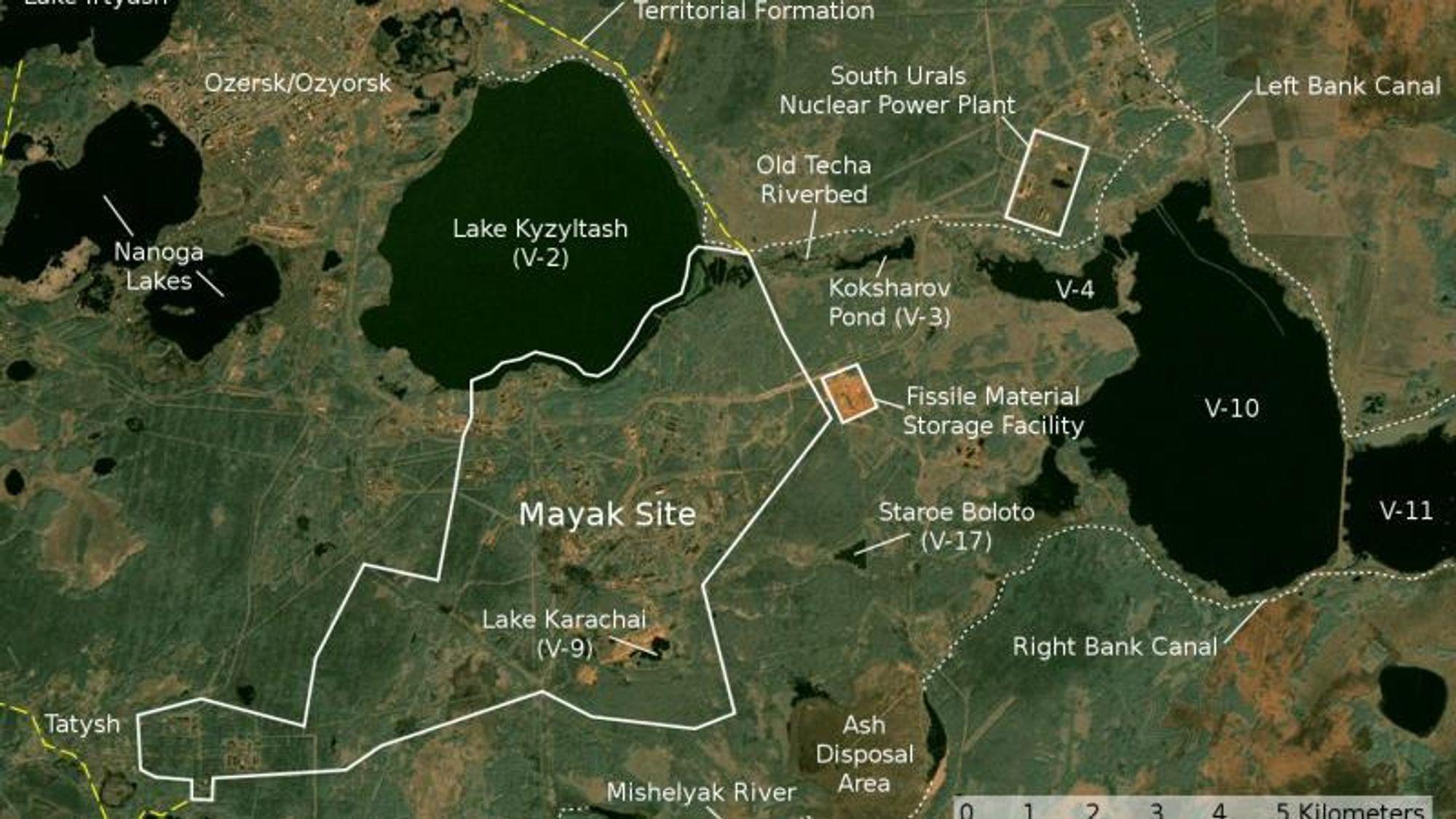 Opparbeidingsanlegget Mayak ligger i Russland i de sørlige Uralfjellene.
