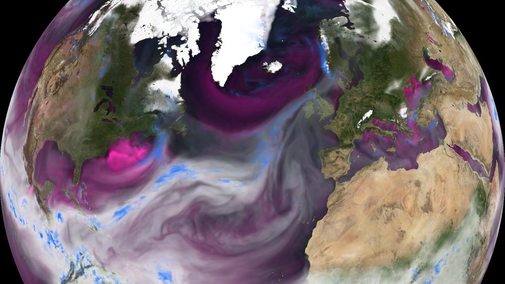 Illustrasjonen viser transport av varm og fuktig luft fra Karibien mot våre områder.Hvit farge angir mengde fuktighet i atmosfæren; blå farge viser store nedbørsmengder. Dette kartet viser atmosfæren under flommen på Vestlandet i oktober 2014, medstore mengder nedbør langs Norgeskysten sør for Lofoten.
