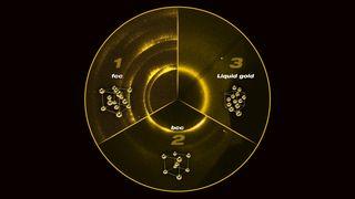 De gjenskapte forholdene som finnes i jordens kjerne. Eksperimentet ga gullet en ny struktur