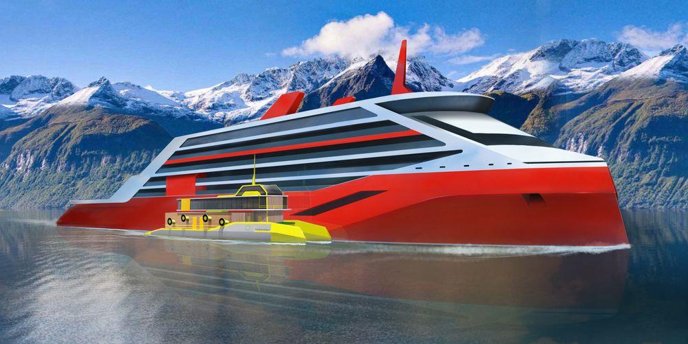 Inoceans forslag om elektrisk forsyningsskip, Ino Fjord. Ett skip på hver side forsyner cruiseskip med strøm og sørger for nullutsslippsseilas i norske fjorder.