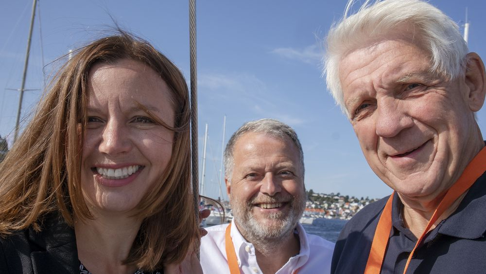 Dagens gjest: Astrid Skarheim Onsum. Til høyre Jan M. Moberg og Odd Richard Valmot.