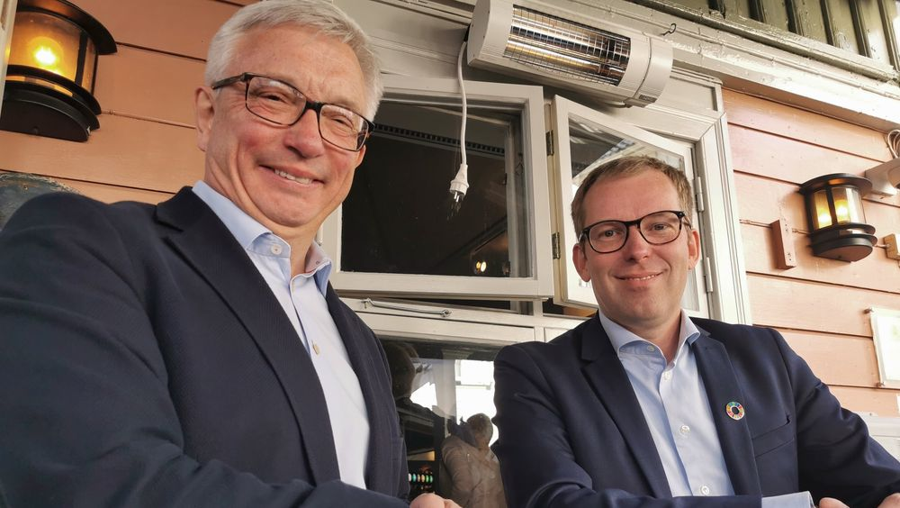 Karl Eirik Schjøtt-Pedersen og Håkon Haugli i henholdsvis Norsk olje og gass og Innovasjon Norge.