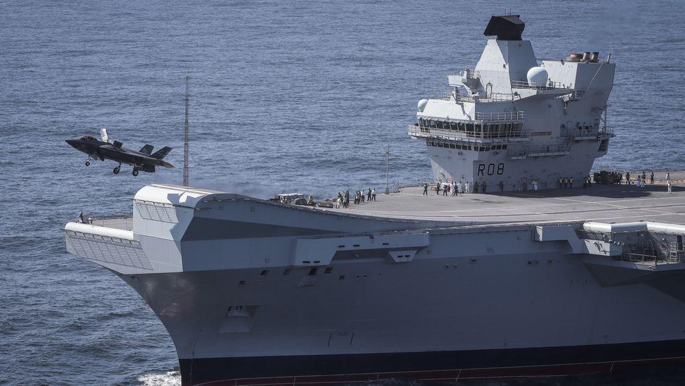 Første britiske F-35B tar av fra HMS Queen Elizabeth i september 2018.