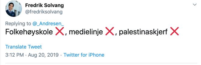 Fredrik Solvangs svar på Twitter