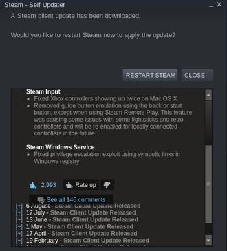 Den 13. august sendte Valve ut en patch til sårbarheten, som opprinnelig ble forsøkt rapportert inn den 15. juni.