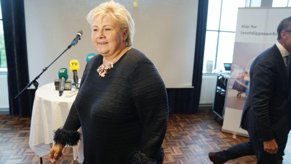 Statsminister Erna Solberg (H) presenterte Enovas tildeling til havvindprosjektet Hywind Tampen tidligere i høst. Nå regner regjeringen tildelingen som en del av tiltakene for «renere hav».