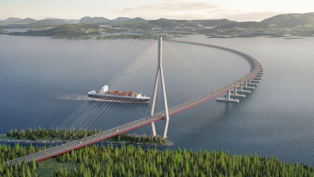 Flytebro: Ei skråstagsbru, nærmest land i sør kombinert med flytebro videre nordover Bjørnefjorden skal sikre passasje for skipstrafikken med 45 meters seilingshøyde.