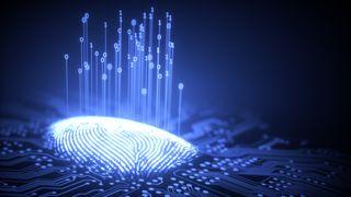 Fingeravtrykk som gir fra seg binærkode.