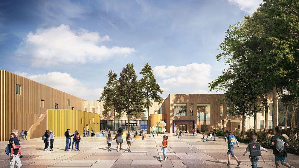 Flesberg skole står ferdig med skolebygg og svømmehall. Nå skal kommuneplanen sikre best mulig bruk av området rundt.