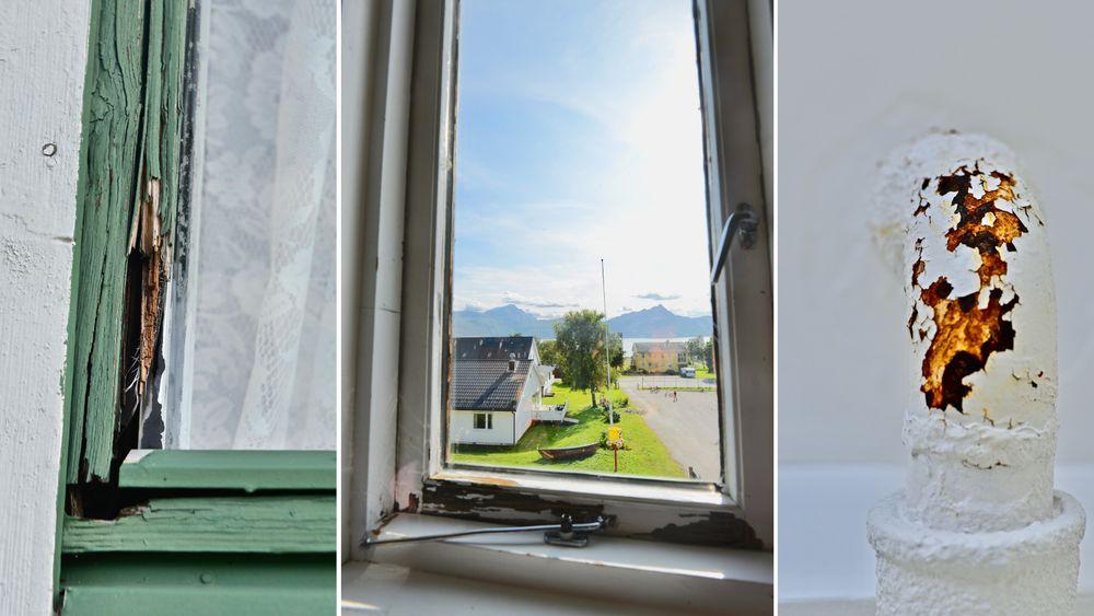 Steigen kommune har vakker natur, men slitne kommunale bygg. Til venstre ser vi vinduet til en av kommunens eldreboliger, hvor karmen har råtnet helt gjennom. I midten er utsikten fra Nordfold barneskole. Til høyre er et rør på rådhuset, som har rustet på grunn av lekkasje på rådhustaket.