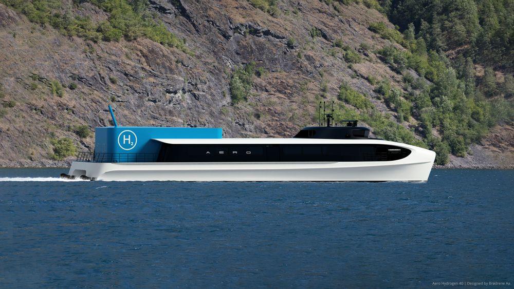 Aero 40 er konseptet til Brødrene Aa for nullutslipps hurtigbåt med brenselcelle og hydrogen.