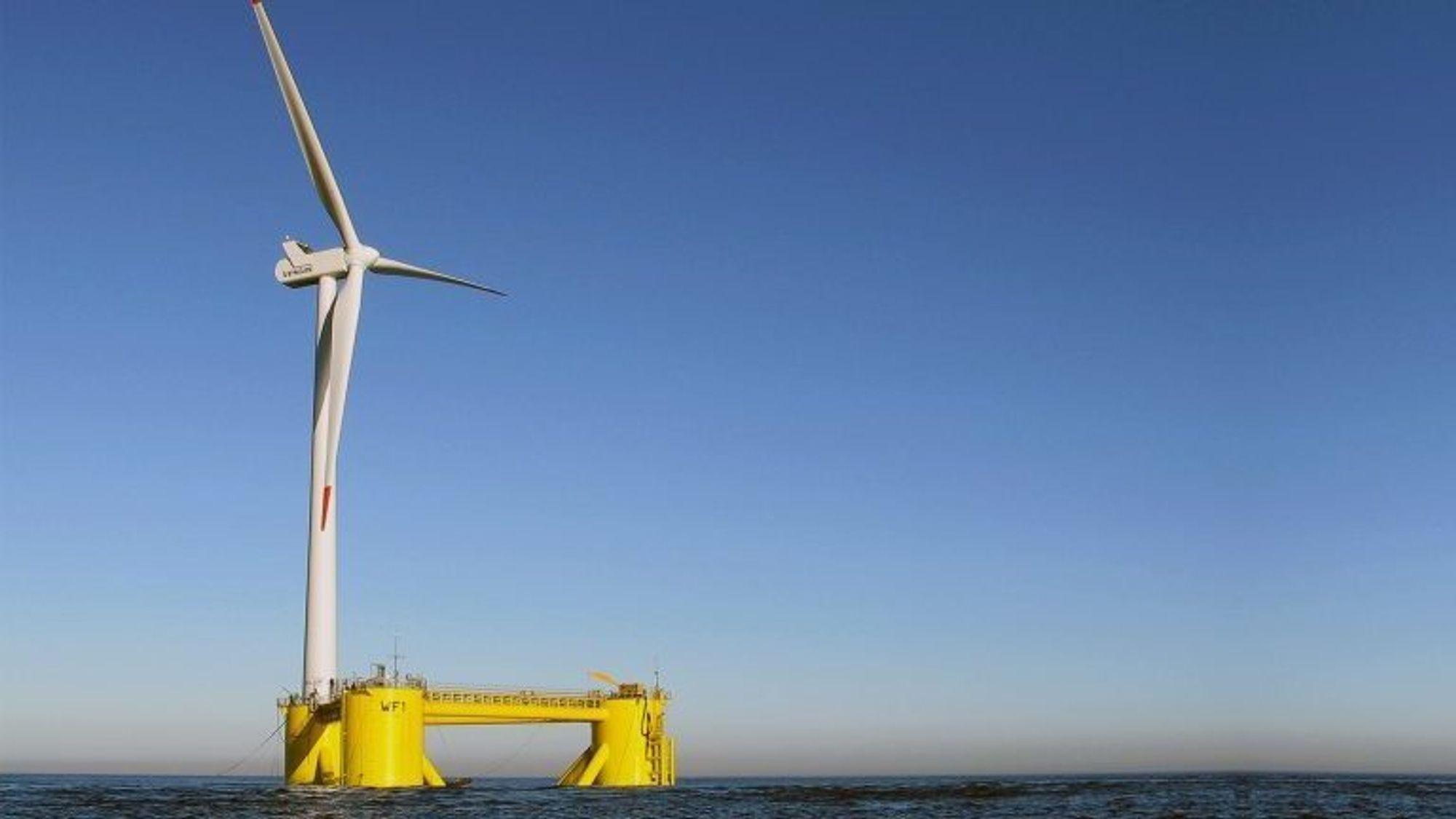 Dette er Aker Solutions og Principle Power sin løsning for flytende havvind.