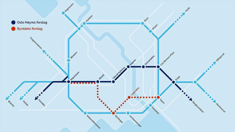 Oslo Høyres forslag om å legge den nye T-banetunnelen lenger nord, vil redusere muligheten for at traseen vil komme i berøring med problematsik alunskiver. NB: Grafikken er ikke en geografisk gjengivelse av t-banen.