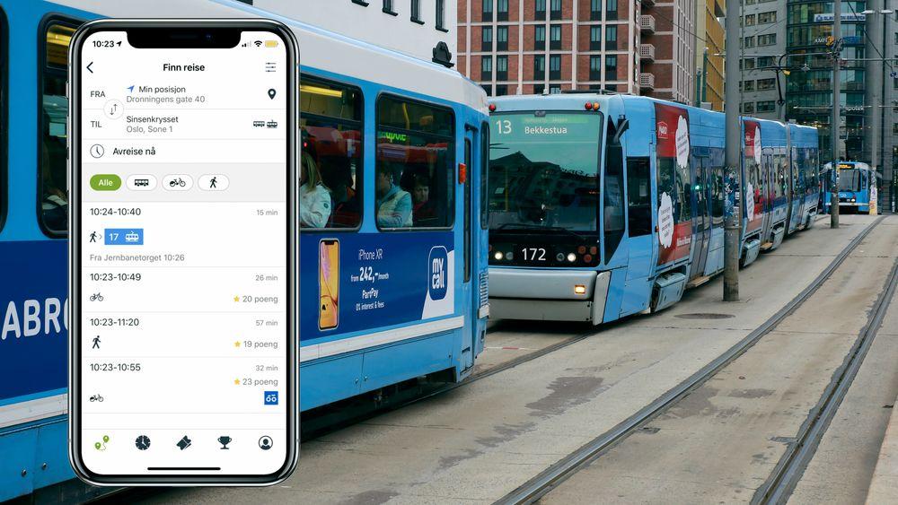 Ved hjelp av denne appen kan kundene i testgruppen få poeng for å gå, i stedet for å ta trikk eller buss, i rushtiden.