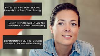 Hanne Kjærnes og tre BankID-referanser på nynorsk, som Kvista geis.