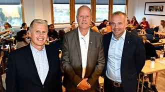 Tirsdag åpnet barnehagelærerstudiet ved Høgskolen i Kristiansund. Jøran Gården (fra venstre), Hans-Jørgen Leksen og Kjell Neergaard.