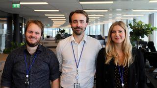 Fra venstre: Fredrik Sandef, RPA-utvikler, Stefan Gulbrandsen, tech-lead, og Grete Tveit, head of intelligent automation.