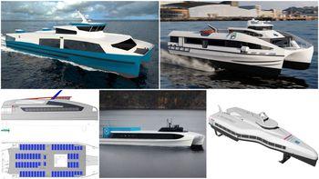Fem nullutslipps hurtigbåtkonsepter presentert 2019. Øverst f.v.: Transportutvikling, Flying Foil og NTNU Technology Transfer. Nederst f.v.: Rødne Trafikk, Brødrene Aa, Selfa Arctic.