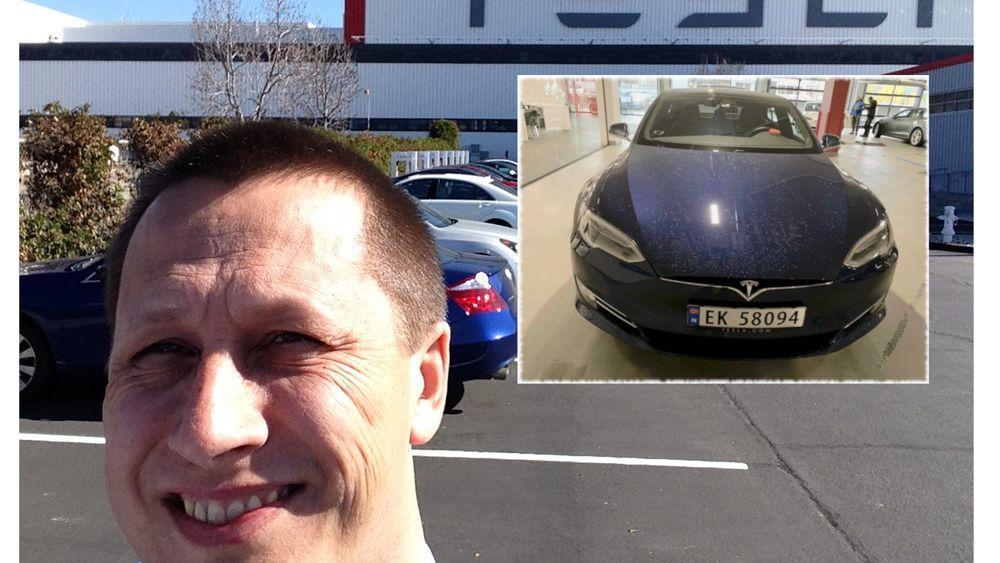 Anders Lagerqvist foran Tesla-fabrikken i Fremont. Innfelt er bilde av Lagerqvists Tesla Model S.