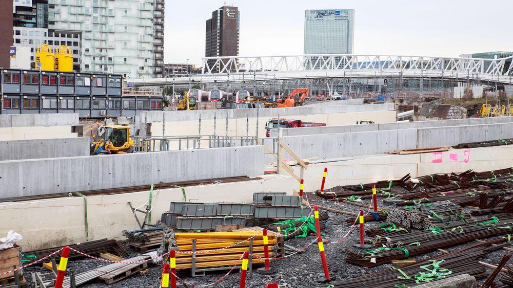 Tidligere i år måtte hele byggeplassen til Follobanen i Bispegata stenges, grunnet skade på støttekonstruksjonen.