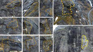 Disse 11 steinblokkene kan rase ned på Trollstigen. Nedenfor passerer kjøretøy inntil hvert 9. sekund