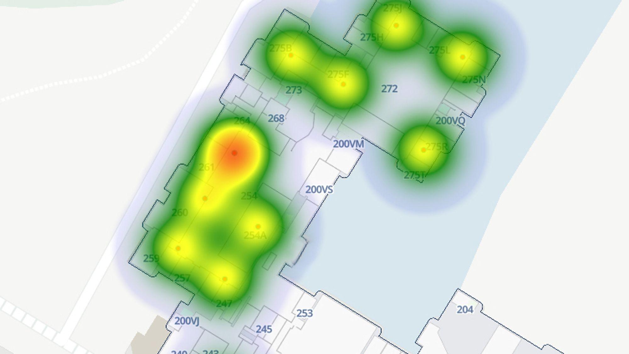 Grensesnittet viser tettheten av mennesker i en bygning.