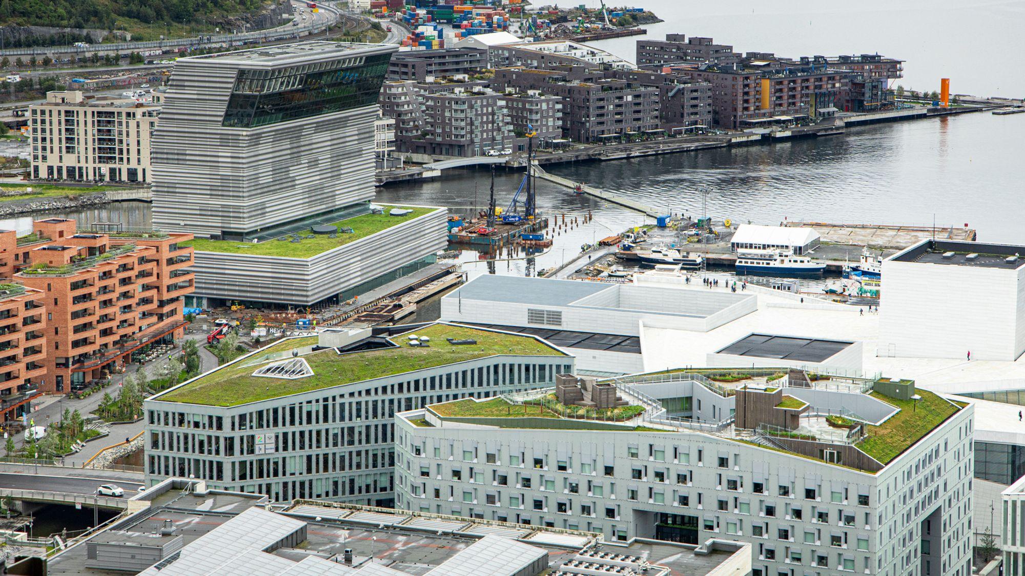 Utbyggingen på Bjørvika i Oslo er i stor grad dekket av grønne tak.