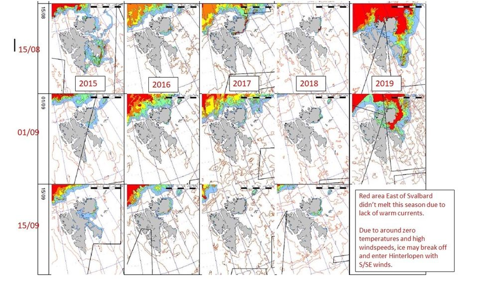 Illustrasjonen viser isforholdene 15. august, 1. september og 15. september de siste fem årene. Rød farge er veldig tett is, grønn er 10–30 prosent is, blått er under 10 prosent is og hvitt er isfritt.
