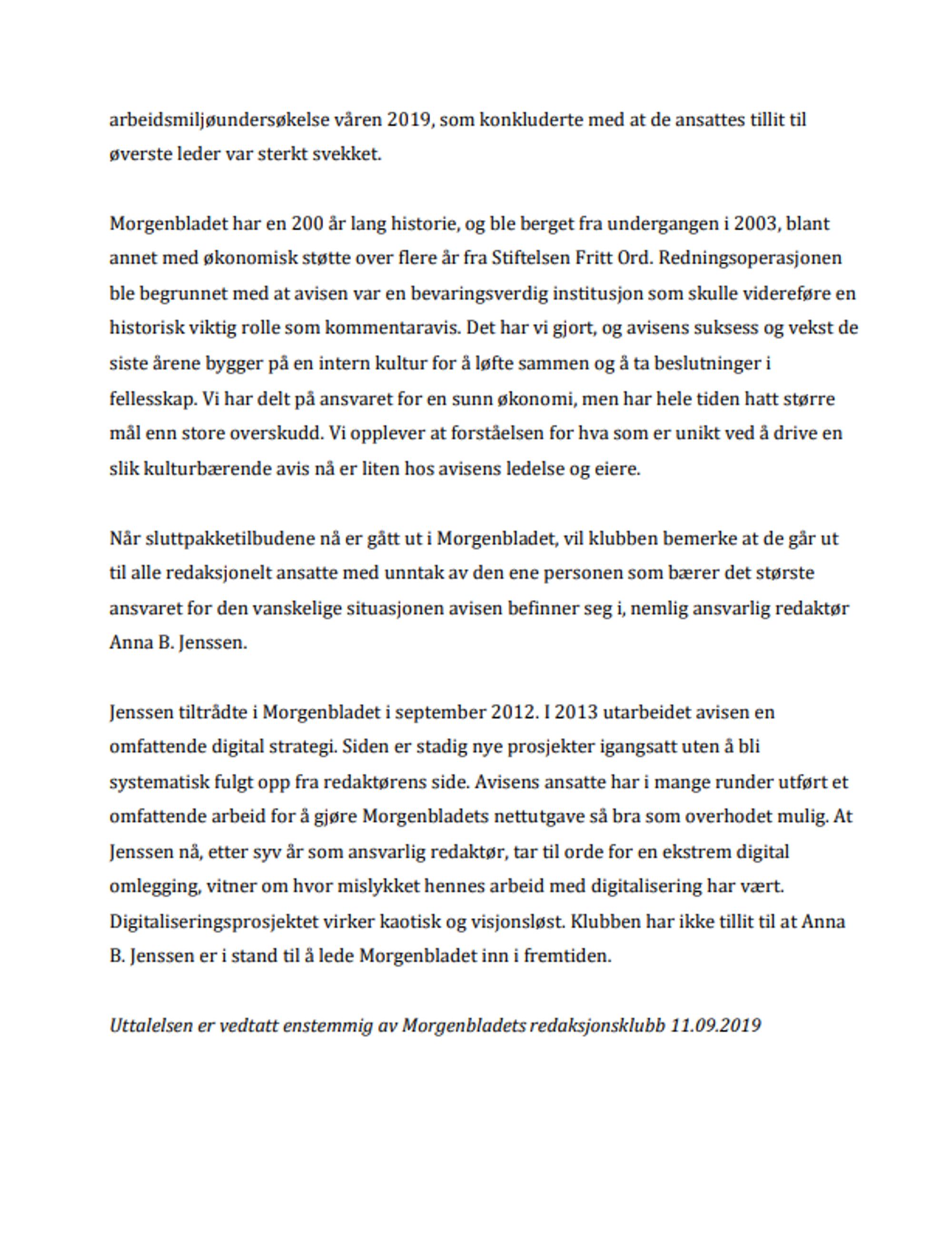 Brev sendt fra redaksjonsklubben i Morgenbladet til ledelsen.
