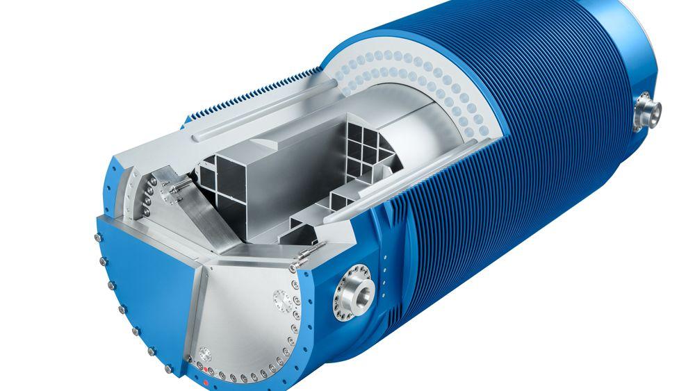 En CASTOR V/52, en type beholder som kan brukes til å lagre norsk atombrensel.
