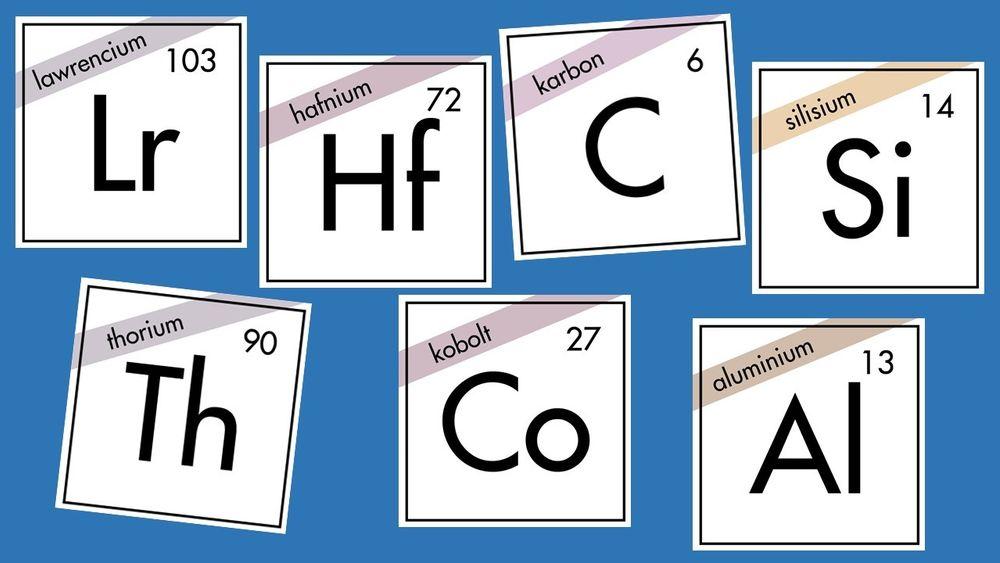 Lawrencium, hafnium, karbon, silisium, thorium, kobolt eller aluminium. Hvilket grunnstoff er din favoritt?