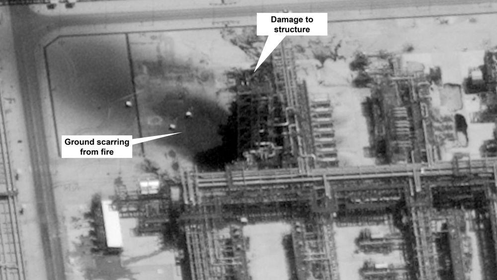 Amerikanske myndigheter har offentliggjort dette satellittbildet fra saudiarabiske Aramcos oljefelt i Buqyaq etter lørdagens angrep.