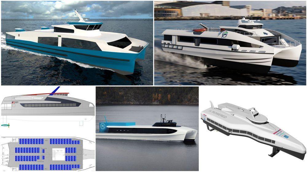 Fem konsortier står bak disse fem konseptene for utslippsfrie hurtigbåter. Sogn og Fjordane fulgte opp med nullutslippskrav i nye anbud, som påtroppende fylkesrådmann i Vestland nå vil utsette.