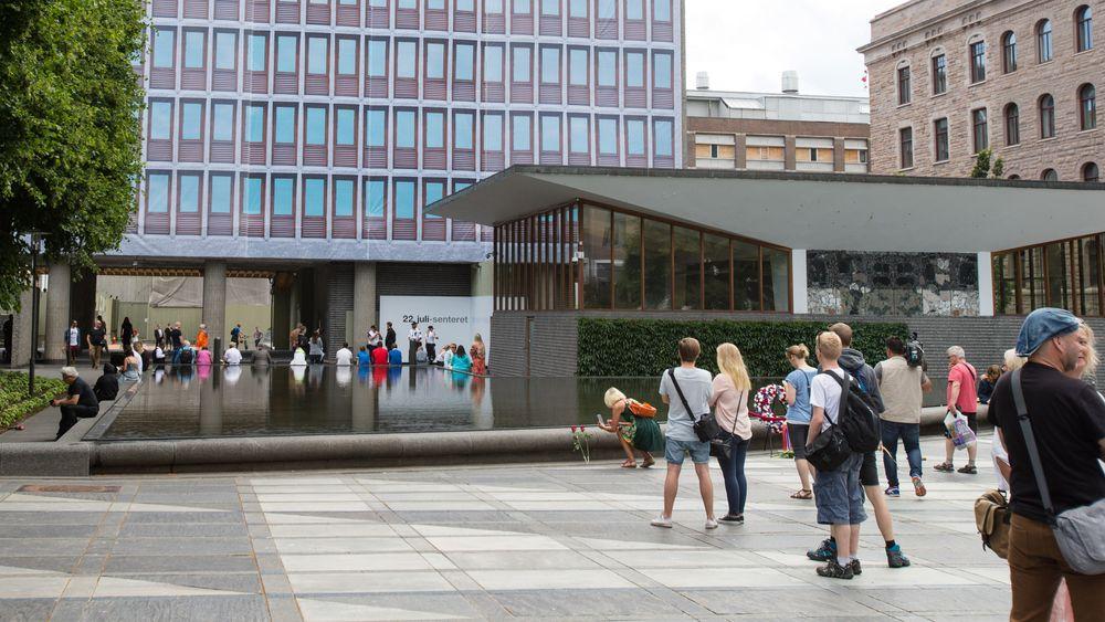22. juli-senteret ved foten av Høyblokka i regjeringskvartalet i Oslo åpnet for publikum i 2015.