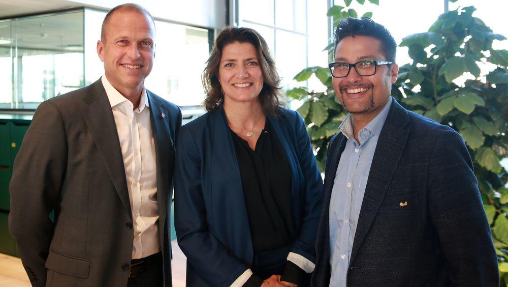 Erik Osmundsen (NG), Sonja Horn (Entra) og Daniel Kjørberg Siraj (Obos) vil øke gjenvinningsgraden i byggenæringen.
