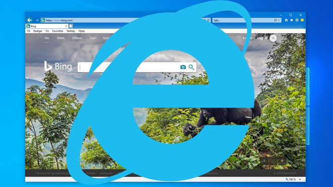 Bing vises i Internet Explorer 11 i Windows 10, med en stor IE-logo foran.