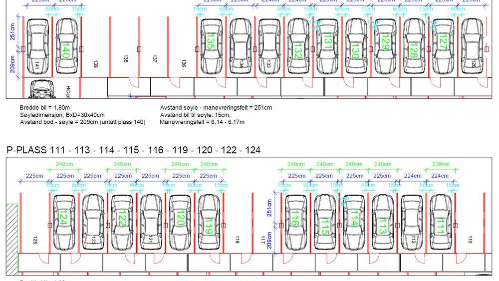 Det blir trangt på parkeringsplassene når det står søyler ved siden av hver eneste parkeringsplass som gjør at døra ikke kan åpnes.