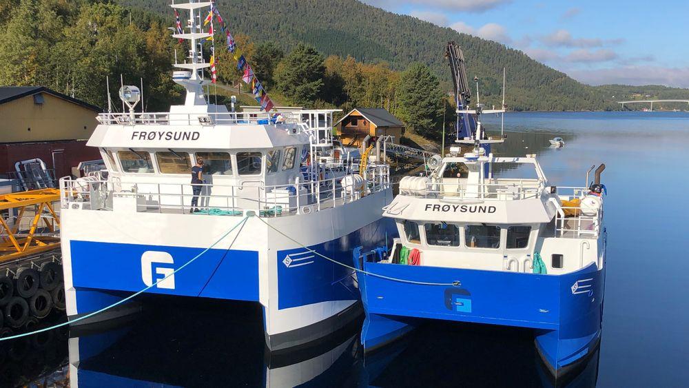 Nye Frøysund til ventre og den gamle til høyre.