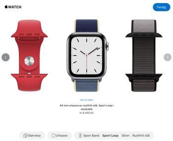 Via Apple Watch Studio kan du sette sammen en hvilken som helst kombinasjon av urkasser og reimer i ulike materialer. Dessverre er ikke keramikkurkasse og titan tilgjengelig i Norge.