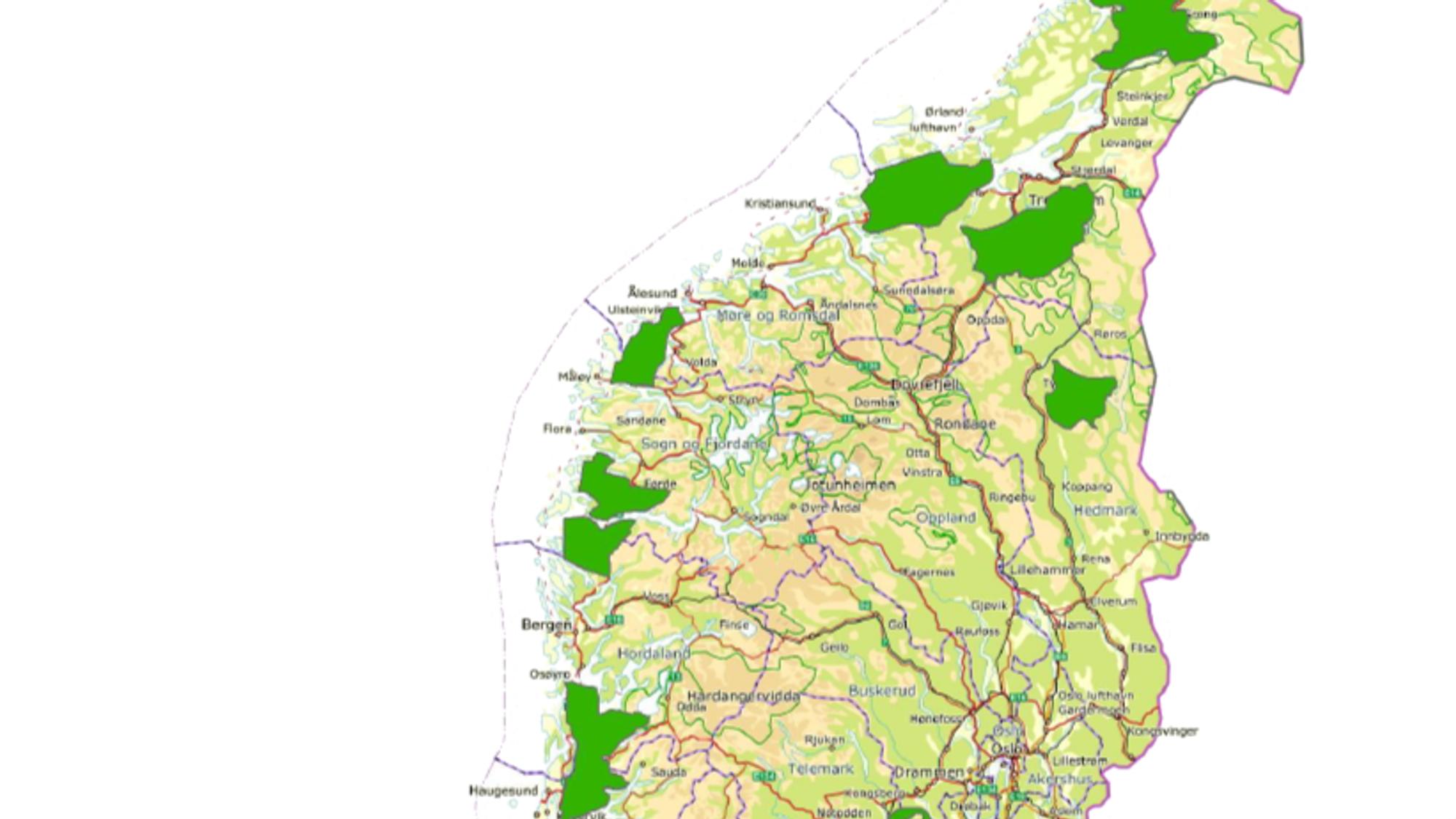 Områder på vestlandet som NVE mener egner seg godt for vindkraft.