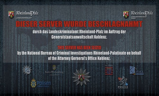 Skjermbilde av nettstedet cb3rob.org, etter at det ble overtatt av tyske justismyndigheter.