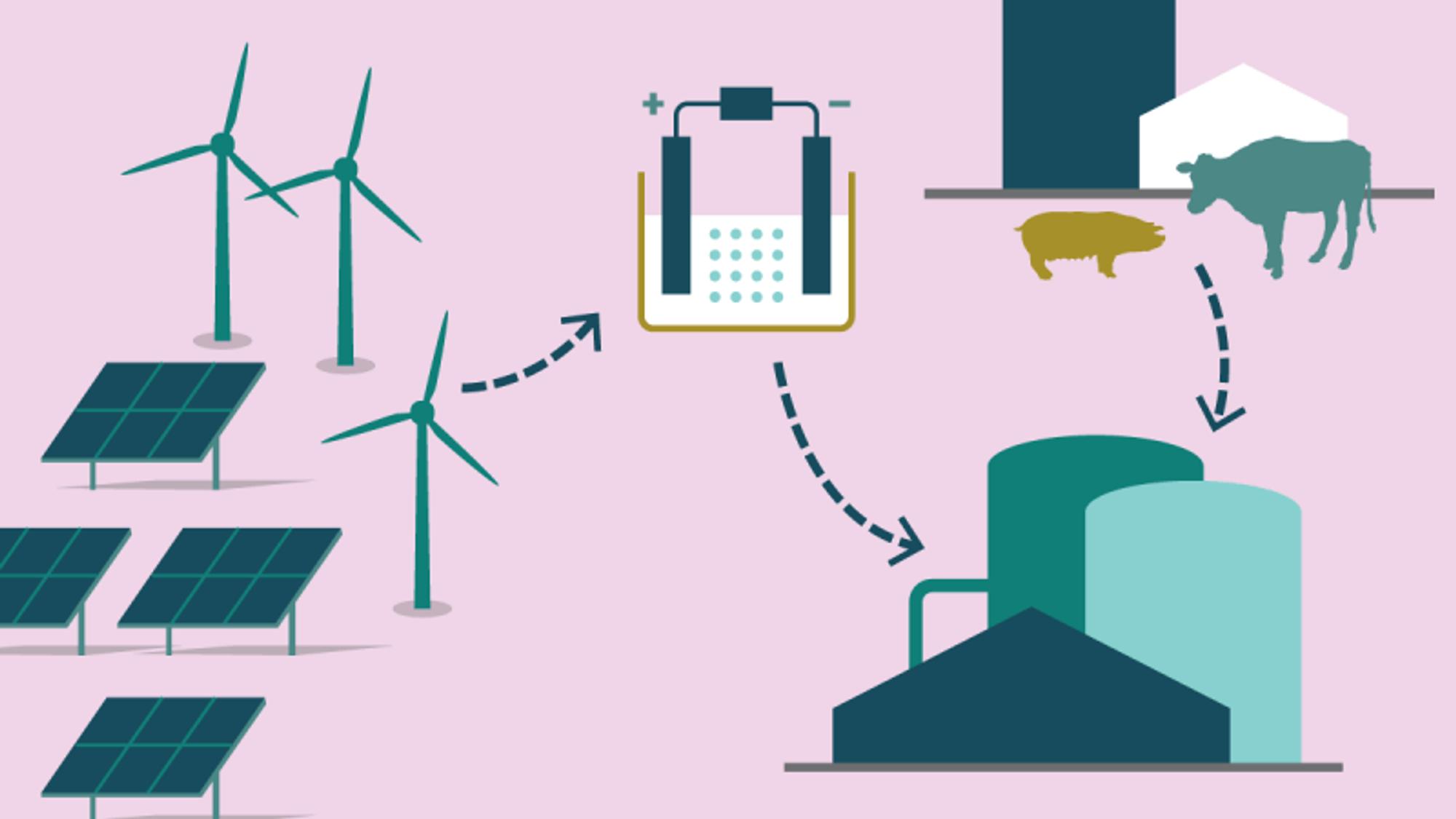 Produksjonen av eFuels bruker strøm fra vindmøller og solceller, i tillegg til en karbonkilde, for eksempel biogass. Geografisk plassering har betydning for strøm- og transportpris, og dermed prisen for det ferdige drivstoffet. Siden prosessene gir overskuddsvarme, vil det også ha betydning om anlegget ligger nært et fjernvarmeanlegg som kanbruke varmen.