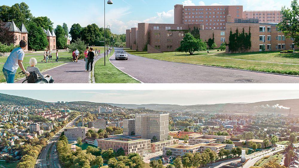 To prosjekteringsbilder fra planleggingen av hovedstadens nye sykehus, Gaustad regionsykehus (øverst) ved Rikshospitalet og Aker akuttsykehus ved Sinsen-krysset.