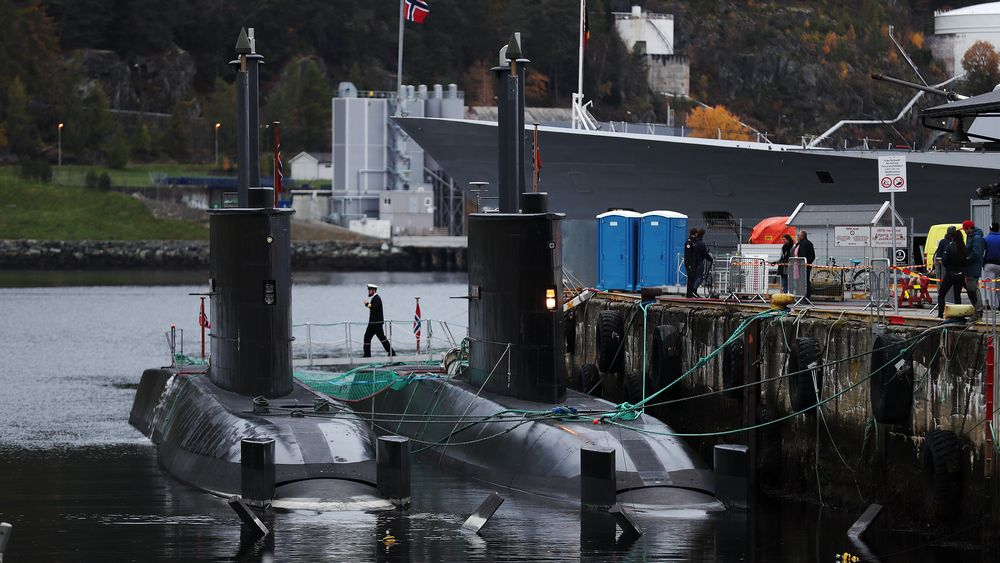 De norske ubåtene KNM Uredd og KNM Utstein i Trondheim havn under øvelsen Trident Juncture i 2018.