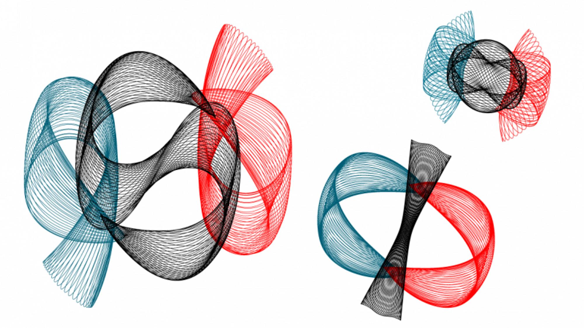 I 2007 fant Xiaoming Li og Sjijun Liao med beregninger på en superdatamaskin flere enn 600 hittil ukjente familier av baner som ligger i samme plan, for tre legemer med lik masse. Her er tre av dem.